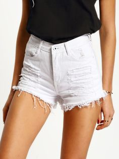 Online shopping for White High Waist Ripped Denim Shorts from a great selection of women's fashion clothing & more at MakeMeChic. White Jeans Outfit, White Denim Shorts, Distressed Denim Shorts, Ripped Denim, Jean Shorts, Denim Blanco, Short Court, Leggings, Street Outfit