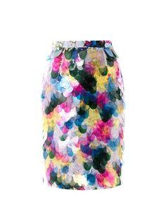 Erdem 'Aysha' floral-print fish scale sequin skirt