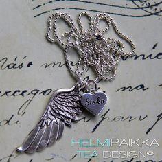 Enkelinsiipi kaulakoru Sisko sydänamuletilla <3 Omasi voit hankkia täältä http://www.helmipaikka.fi/tuotteet.html?id=13/3314
