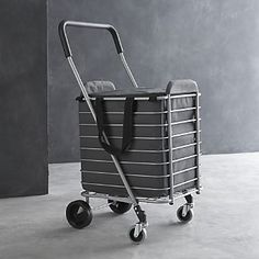 Polder® Folding Shopping Cart with Insulated Grey Liner I Crate and Barrel