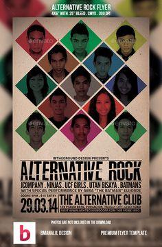 Alternative Rock Flyer — Photoshop PSD #fest #singer • Available here → https://graphicriver.net/item/alternative-rock-flyer/9175892?ref=pxcr