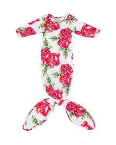 c90188c205d Red roses make for the perfect buttery soft layette gown. Featuring our new  knot making