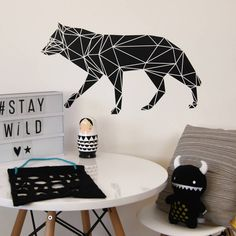Geometric Wolf Wall Sticker. The geometric trend is upon us and we have fully embraced it at Parkins Interiors with a range of black and white geometric inspired wall stickers.