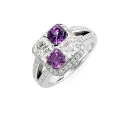 Spellbound Diamonds & Sapphires ring by Royal Asscher. Royal Asscher Cut diamonds and pink sapphires with diamond micro pave, 18kt white gold.