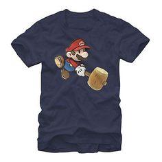 4beb2552cf9d2c Nintendo Paper Mario Hammer Blue T-Shirt