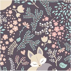 2227 | sleeping Fox - pastel violet