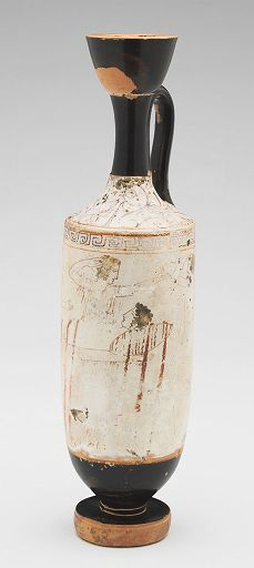 Attributed to The Bird Painter, Attic White-ground Lekythos: Visit to the Grave, c. 430 BC | Harvard Art Museums/ Sackler Museum