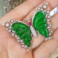 @lajollagems. Butterfly Brooch with beautifully carved green #jade wings , rimmed with laces of diamonds  . #butterflyjewely