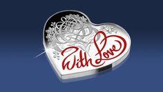 Srebrna moneta w kształcie serca