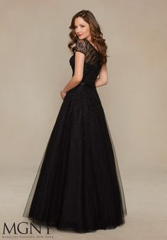Beaded Tulle Over Chantilly Lace Evening Gown/Mother of the Bride Dress Designed by Madeline Gardner. Colors available: Black.