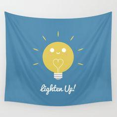 Lighten Up Wall Tapestry - Lightbulb, light, bulb, bright, shiny, sunny, happy, positive, smile, yellow, blue, art, design, drawing, vector, illustration