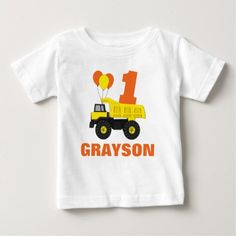 Shop Construction First Birthday Outfit, T-Shirt created by PuggyPrints. 1st Birthday Decorations, 1st Birthday Themes, Boy Birthday Parties, Girl Birthday, Birthday Ideas, Birthday Centerpieces, Birthday Diy, Birthday Cupcakes, Birthday Quotes