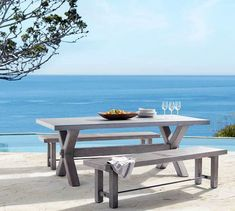 Enjoy al fresco meals with patio dining furniture from Pottery Barn. Shop wood and metal outdoor dining sets in a range of sizes, styles and colors. Dining Set With Bench, Grey Dining Tables, Metal Dining Table, Patio Dining, Dining Bench, Dining Sets, Patio Tables, Dining Chairs, Pottery Barn