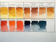 Daniel Smith watercolors comparison swatch of Quinacridone Gold, Burnt Sienna, Pyrrol Scarlet, Indigo with M. Graham, QoR, Holbein, Winsor and Newton, Mission Gold and MaimeriBlu professional grad watercolor brands on Strathmore 400 series watercolor paper