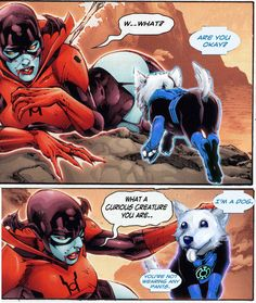 Today I learned that there's a BLUE Lantern corps, and that a corgi is (non-canonically) one of its members. And that this corgi makes cutting remarks about how women are dressed in comic books, and is thus awesome.