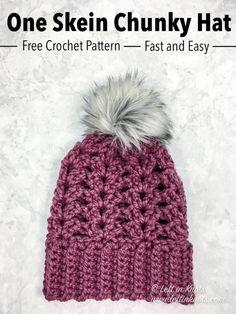 Crochet Frosted Berry Chunky Hat - Free Pattern — Left in Knots One Skein Crochet, Crochet Car, Crochet Beanie, Double Crochet, Free Crochet, Crochet Headbands, Crocheted Hats, Crochet Socks, Crochet Things