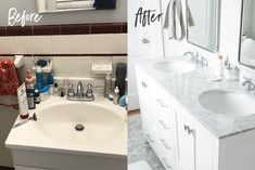 A bright small bathroom transformation -- from white and maroon 1950s tile to a clean, bright and beautiful space. Before and after photos + source list. #bathroomrenovation #renovation #greyandwhitebathroom #smallbathroom