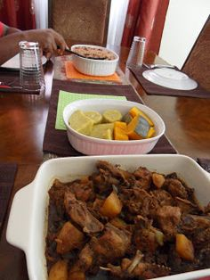 My hubby enjoying some good home cooked Jamaican food     Oh but so delicious.  For lunch we had Rice and Peas, Stew Chicken and boiled sw...