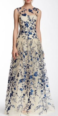 Floral Embroidered Bridesmaids Gown