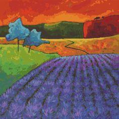 Cross stitch modern art by Gillian Mowbray 'Lavender by GeckoRouge