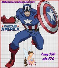 Capitão América by Dinha ponto cruz completo