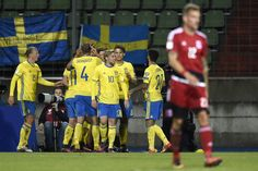 Sweden's players celebrate after scoring during the FIFA World Cup 2018 football qualification match between Luxembourg and Sweden at Josy Barthel stadium on October 7, 2016 in Luxembourg.. / AFP / JEAN-CHRISTOPHE VERHAEGEN
