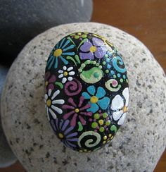 JUST FLOWERS hand painted rock. by DottyRoxAndMore on Etsy