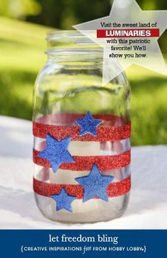 Add a festive touch to mason jars for a pretty and patriotic display!
