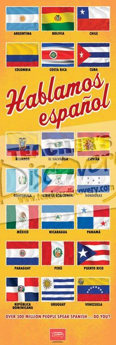 Flags of Spanish Speaking Countries Door Poster, Classroom Décor: Teacher's Discovery