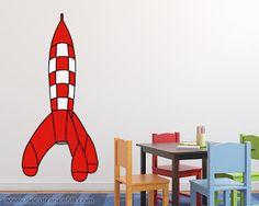 Sticker mural fusée tintin