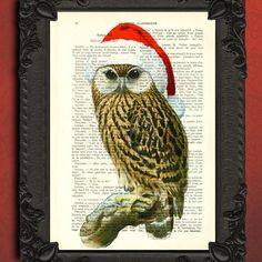 Christmas Owl Art Print - Christmas Illustration Upcycled Dictionary Book Page Art print