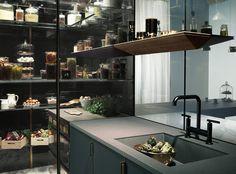Andrew Hays for Poggenpohl, The Fourth Wall kitchen - House & Garden - How To Spend It. Featuring Lapitec, Grigio Piombo Vesuvio worktops.