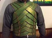 Kelsohighlander's Second Age elf armor built out of linoleum. http://www.therpf.com/f24/high-elven-warrior-costume-build-lotr-229843/
