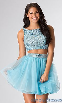 Short High Neck Two Piece Party Dress by Sherri Hill 11061 at SimplyDresses.com
