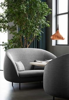 I want my living room to look like this. Restaurant The Standard in Copenhagen. Stunning Danish design by Fredericia. Haiku sofa in grey designed by GamFratesi.