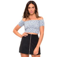Maribelle Off The Shoulder Crop in Ditsy Gingham Blue by Motel (1,100 PHP) ❤ liked on Polyvore featuring tops, off the shoulder tops, off the shoulder crop top, gingham top, cut-out crop tops and off shoulder crop top