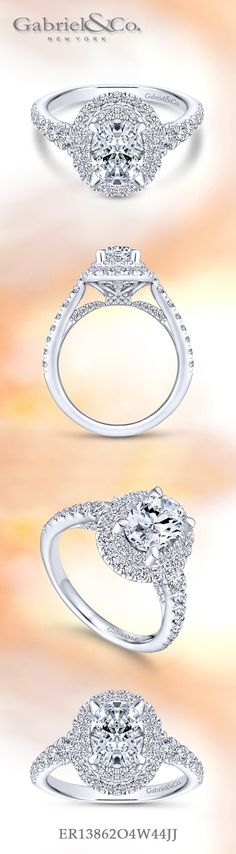 Gabriel & Co.-Voted #1 Most Preferred Fine Jewelry and Bridal Brand. 14k White Gold Oval Double Halo Engagement Ring