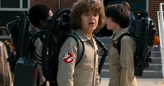 First Stranger Things Season 2 Photo Shows the Kids as Ghostbusters -- Caleb McLaughlin, Gaten Matarazzo and Finn Wolfhard are seen dressed as Ghostbusters in a photo from Stranger Things Super Bowl commercial. -- http://tvweb.com/stranger-things-season-2-photo-ghostbusters/