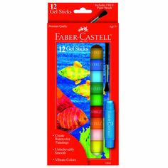 Faber and Castell 12 Count Gel Sticks with Free Brush
