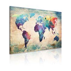 Bilder 90x60 cm - XXL Format - Fertig Aufgespannt - TOP - Vlies Leinwand - 1 Teilig - Wand Bild - Kunstdruck - Wandbild - Weltkarte 020113-44 90x60 cm