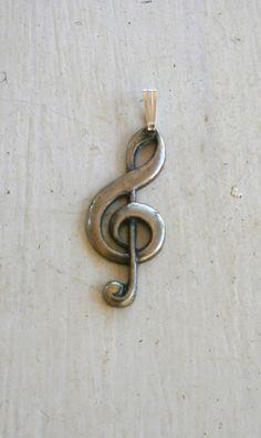 Vintage - Silver - Music Symbol - Pendant by Vintix on Etsy