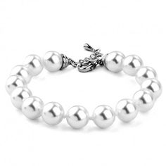 White Pearl 18K Gold Plated Bracelet - Silver