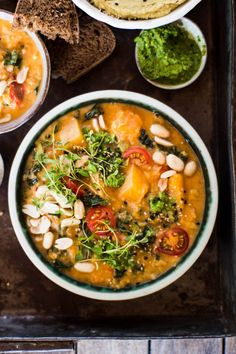 African butternut squash lentils and peanut stew recipe. Rich sweet savoury creamy nutty and slightly spicy this stew hits all my comfort food buttons. Youve got to try it for your next vegetarian meal! Vegan Stew, Vegetarian Soup, Vegetarian Recipes, Healthy Recipes, Vegetarian Italian, Veggie Recipes, Baby Food Recipes, Soup Recipes, Cooking Recipes