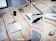hiding cord clutter with a plank desk. Greatest idea ever