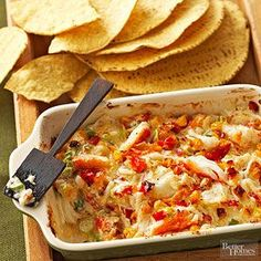 If you have time to shell some crab, the meat from snow crab legs or king crab legs is especially tasty in this dip./