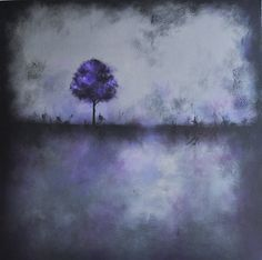 Purple Tree  Original Large abstract Landscape by PrismaticArt, $175.00