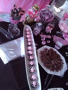 pink and brown wedding candy station  love JC :  wedding JC