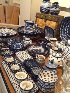 Polish pottery from Boleslawiec, Lover Silesia Blue Pottery, Ceramic Pottery, Blue And White China, Navy Blue, Polish Pottery, Vintage Dishes, White Decor, Dinnerware, Stoneware