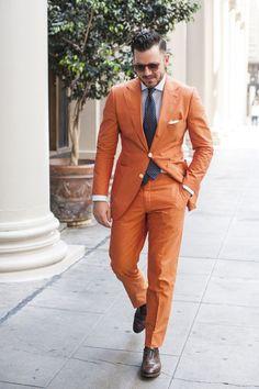 Latest Coat Pant Designs Orange Casual Beach Men Suit Slim Fit 2 Piece Tuxedo Custom Simple Party Suit Masculino Jacket+Pant A23
