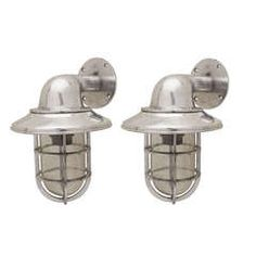 Pair of Chrome Nautical Passageway Lights, Midcentury